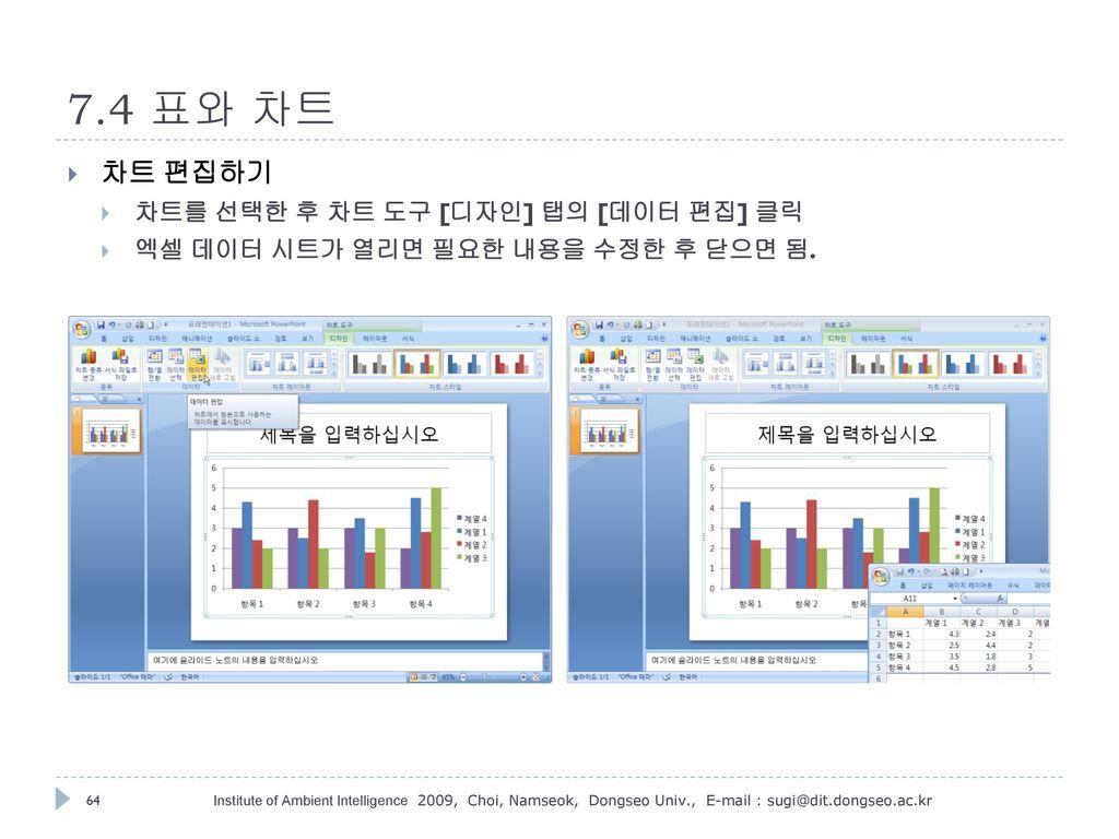 7.4 표와 차트 차트 편집하기 차트를 선택한 후 차트 도구 [디자인] 탭의 [데이터 편집] 클릭
